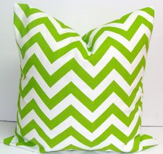 GREEN CHEVRON PILLOW.18x18 inch.Decorator Pillow Cover.Printed Fabric Front and Back.Chartreuse.ZigZag.Chevron.Bright.Lime.Chartreuse