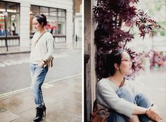 Such a great look! Shini Park from London Über-blog 'Park & Cube' in her NANA cashmere jumper - SHOP HER SWEATER HERE: http://www.muriee.com/women/new-arrivals/nana-pale-blue.html