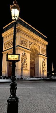 A notable landmark in Paris, the Arc de Triomphe stands at the west end of the Champs-Élysées, construction began August -Inaugurated July 29 1836 honors those who fought in French Revolution and Napoleonic wars. Paris At Night, Paris Travel, France Travel, Places To Travel, Places To See, Paris Poster, Ville France, Triomphe, Paris Love