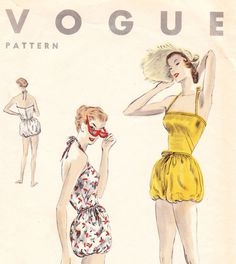 Vintage 1950s swimsuit sewing pattern  Vogue by glassoffashion, $54.99