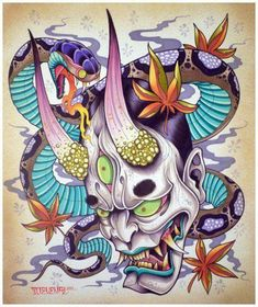 Hannya masks, a fearsome symbol in Japanese tattoo culture. Learn of their intriguing history and significance. Browse unique hannya tattoo designs for inspiration. Japan Tattoo, Hannya Maske, Japanese Mask Tattoo, Hannya Mask Tattoo, Totenkopf Tattoos, Asian Tattoos, Oriental Tattoo, Samurai Tattoo, Best Sleeve Tattoos