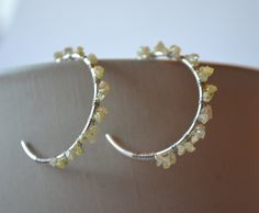 Rough Diamond Earrings Yellow Canary Natural Uncut by Gewgaws & Gimcracks on Etsy, $86.00