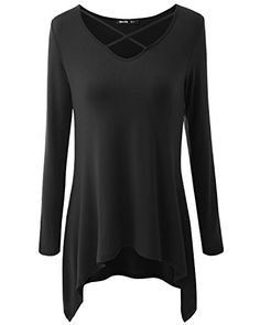 b68b88aac173 Womens Long Sleeve Casual Loose TShirt Basic Cotton Simple Tunic Top --  Visit the image link more details.