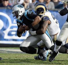 Panthers vs. Rams:  13-10, Panthers  -     Carolina Panthers quarterback Cam Newton (1) is sacked by Los Angeles Rams defensive end Eugene Sims (97) in the first half at Los Angeles Memorial Coliseum in Los Angeles, CA on Sunday, November 6, 2016.