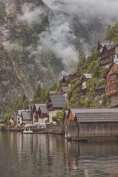 Cloudy Morning, Halstatt, Austria at a Hillside Village