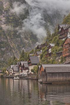 Cloudy Morning, Halstatt, Austria at a Hillside Village