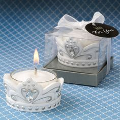 These magnificent crown tea light candles are crafted from sturdy poly resin and hand painted in a stunning white color with silver accents. They feature a molded design and raised swirl shapes. Each crown is packaged in a clear gift box with a silver sta Wedding Invitation Kits, Wedding Party Favors, Bridal Shower Favors, Party Favours, Wedding Ideas, Candle Favors, Candle Holders, Tea Light Candles, Tea Lights