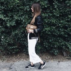 Large pants + bomber jacket