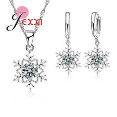 Jexxiエレガントロマンチックな雪の結晶のペンダントクリスタル装飾ファッションシルバーチェーンネックレスイヤリングセット女性クリスマスジュエリー