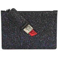 Lulu Guinness Women Medium Glitter Lipstick Pouch ($165) ❤ liked on Polyvore featuring bags and black