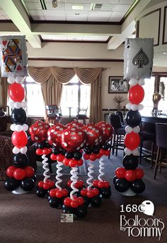 Balloons by tommy - photo gallery - centerpieces harlem nights party, casino night party, Casino Party Decorations, Casino Theme Parties, Party Centerpieces, Party Themes, Party Ideas, Centerpiece Ideas, Table Decorations, Balloon Decorations, Vegas Theme