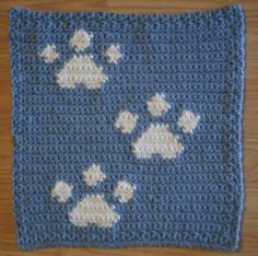Lil Paws Dishcloth Crochet Instant by TwoNeedlesOnehook on Etsy, $2.00