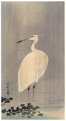 hanga gallery . . . torii gallery: Little Egret in Rain by Ohara Koson