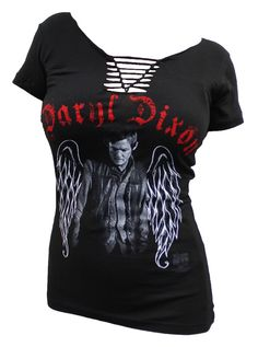 BikerOrNot Store - The Walking Dead - Ladies Slit V-Neck Daryl Wings T-Shirt, $21.97 (http://store.bikerornot.com/the-walking-dead-ladies-slit-v-neck-daryl-wings-t-shirt/)