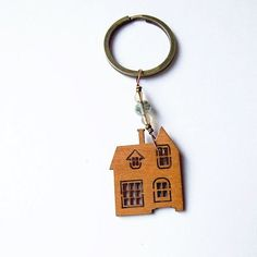 old house keychain  adorable delicate wooden house by KicaBijoux, $8.00
