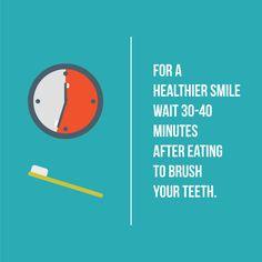 ¿SABÍAS QUE... si consumiste alguna comida o bebida ácida debes esperar de 30 a 40 minutos para cepillarte los dientes?   Esto es porque el ácido de estos alimentos debilita el esmalte de tus dientes y promueven su desgaste.   No tomes riesgos y protege tu sonrisa con nuestro programa de prevención Smile Prevent donde aplicamos flúor cada 6 meses para proteger tu esmalte.