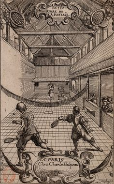 Charles Hulpeau, The royal real tennis court, Paris 1632. Wood engraving by Pierre Brébiette representing an indoor real tennis court at the beginning of the 17th century.