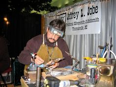 """For the first time ever, the Frankfort Fall Festival will showcase five exceptionally talented """"featured artists"""" who will demonstrate their craft in a specially designated area of the Fest.  Jeffery Jobe, a traditional silver and goldsmith, is one of those five.  Check out his website to learn more:  http://barkingdogjewelry.com/Site/Information_and_Show_schedule/Information_and_Show_schedule.html#"""