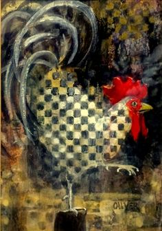 Rooster With A Checkered Past, painting by artist Julie Ford Oliver