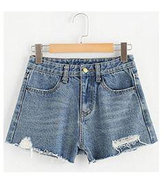 bb85b0f91e Rick Rogers New Ripped Button Fly Denim Shorts Blue Mid Waist Casual Women  Bottoms Shorts Summer Pocket Jeans Shorts
