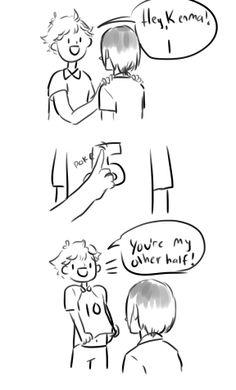 Hinata probably doesnt get wut my other half means Haikyuu Tsukishima, Hinata Shouyou, Haikyuu Funny, Kenma Kozume, Kuroken, Haikyuu Manga, Haikyuu Fanart, Anime Manga, Kagehina