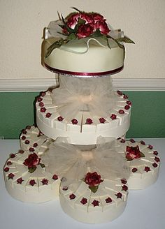 Cake Slice Boxes arranged as a Cake tier.  Boxes available at http://www.alloccasionsgiftware.com/cat_cake_favor_boxes.cfm
