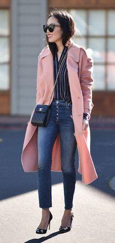 #winter #fashion /  Pink Maxi Coat / Skinny Jeans / Black Pumps