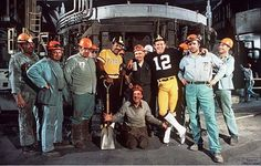Willie Stargell (Pittsburgh Pirates) & Terry Bradshaw (Pittsburgh Steelers) with Pittsburgh steel workers from the late 1970's