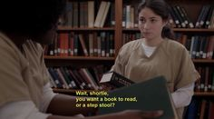 "Orange is the New Black (2013- ) [TV series].  ""Taystee"" Jefferson is a smart and hip prison librarian, as well as an inmate."