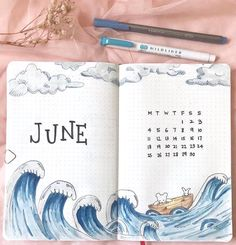 """if you are looking for gorgeous ocean bullet journal layout inspiration you are coming to the right place! We have collected over 50 gorgeous ocean bullet journal spreads, including a """"how-to"""" video and. Planner Bullet Journal, Monthly Bullet Journal Layout, Bullet Journal Cover Ideas, Bullet Journal Hacks, Bullet Journal Writing, Bullet Journal Spread, Bullet Journal Ideas Pages, Journal Covers, Bullet Journal Inspiration"""