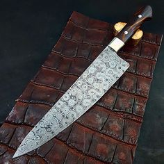 """10 1/2"""" Raindrop Damascus chef's knife 2 3/8"""" wide at the heel  nickel silver bolsters and Ironwood handle loveless fasteners. by wilburnforge"""