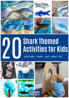 Here's some of my favorite shark activities, shark books and shark videos just for kids for Shark week. Easy shark themed activities your child will love as a summer crafts for kids. Shark Games For Kids, Shark Activities, Sharks For Kids, Name Activities, Activities For Kids, Reading Activities, Shark Books, Shark Art, Shark Week