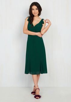Ties to the Occasion Midi Dress in Pine. Whether youre a bridesmaid, a party planner, or you simply desire elegant attire, your ideal ensemble can be found in this dark green dress. #green #wedding #bridesmaid #modcloth
