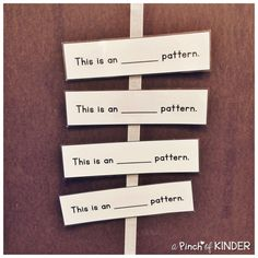 Teaching Patterning in FDK - Part 2 - A Pinch of Kinder Math Wall, Math Patterns, Grade 1, Preschool Activities, Mathematics, Sentences, Kindergarten, Teaching, Writing