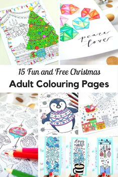 These beautiful fun and free Christmas adult colouring pages make wonderful seasonal decorations or you could turn them into Christmas cards