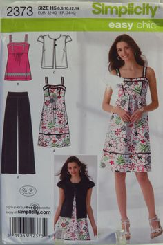 Simplicity Sewing Pattern 2373 Misses' Pants, Dress or Top and Jacket