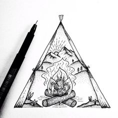 Oh and here& Sunset camping scene because honestly why no - Gráfico oscuro psicodelico surrealista Camping Drawing, Camping Crafts, Camping Recipes, Camping Tips, Desenho Tattoo, Mountain Tattoo, Arte Popular, Ink Illustrations, Ink Art