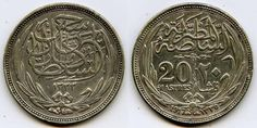 Description: Absolutely great looking, scarce, extremely fine or much better 1917 (1335 AH) twenty Egyptian piastres silver coin. The coin depicts the name of Hussain Kamil as the Sultan of Egypt duri