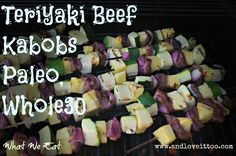 These Teriyaki Beef Kabobs are sugar-free, soy-free, easy to put together and absolutely delicious to eat! Paleo, ACD and Whole30 friendly, you can't go wrong with these! #whatweeat