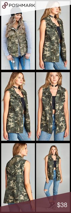 1 LEFT SALE‼️5⭐️Camo Utility Vest One of the hottest trends this season! A celebrity favorite and a must have for every closet. Looks so cute on! Lots of pockets, hooded and drawstring at waist and buttons as well as zips up in true utility fashion. Jackets & Coats Vests