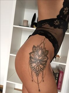 #tattoo #lotus #mandala #spiritual #sexy #black #lace #tan #hips