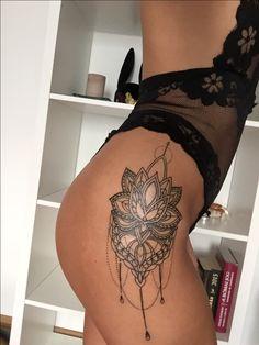 #tattoo #lotus #mandala #spiritual #sexy #black #lace #tan #hips