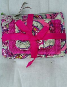 NEW Vera Bradley Cosmetic Trio Paisley Meets Plaid, Lined Zip, 2 available #VeraBradley