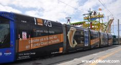 Rotulación Tranvía Orange. Contacta con nosotros en el 922 646 824 o vía email a mailto:comercial@... #rotulacion #vehiculo #tranvia #publiservic Tenerife, Train, Santa Cruz, Canary Islands, Advertising, Teneriffe, Strollers