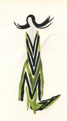 """Fashion illustration """"au pochoir"""" by Sonia Delaunay, 1969, """"Petit Parigot"""", Published for """"Tableaux Vivants"""" Portfolio."""