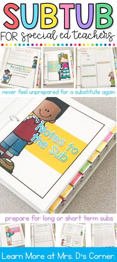 Sub Tub for Special Ed Teachers Substitute Binder for Special Ed Teachers. Never feel unprepared for a substitute again with this . Emotional Support Classroom, Special Education Classroom, Future Classroom, Substitute Teacher Binder, Sub Binder, Teacher Organization, Teacher Hacks, Teacher Stuff, Long Term Sub Plans