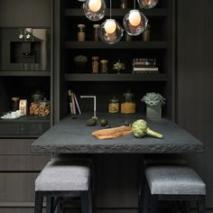 A luxury dark kitche...
