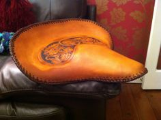Custom Indian Drifter Saddle Tooled Leather And Hand Laced Oiled To Give It That