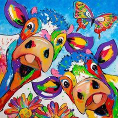 Art, Colorful Cows