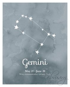 Looking for an affordable way to decorate your home or a birthday gift for a Gemini? Then this is the perfect buy! THIS LISTING IS FOR A HIGH QUALITY DIGITAL IMAGE IN JPEG FORMAT. PLEASE NOTE THAT NO PHYSICAL PRINT WILL BE SENT TO YOU IN THE POST. You will receive two printables: one printable of Gemini star constellation in dark blue watercolor texture background and another one with the same image with the zodiacs date and characteristics. The text on the picture says: Gemini May 21…